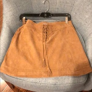 Calypso brown suede mini skirt
